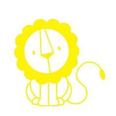 kleiner Löwe, gelb, Velours-Motiv zum Aufbügeln
