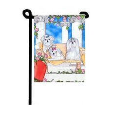 Maltese Sitting Pretty Garden Flag