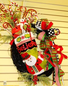 Wreath with stuffed Mary Engelbreit Stocking! Click here to see more beautiful creations! http://www.facebook.com/pages/Andersons-Interiors/208369055849981