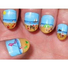 Beach nails. Sooooooo detailed!!!!