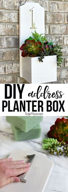 Increase your curb appeal with a modern looking DIY Address Planter Box with succulents. This house number DIY is super simple and quick to make (less than 30 minutes hands-on time) and and NO TOOLS required!! Get the full tutorial at TidyMom.net