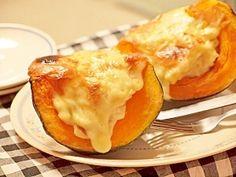 """Gratin of a Japanese pumpkin boat"" - japanese recipe/ほっこり☆カボチャボートのグラタン"
