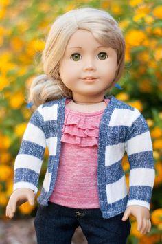 American Girl Dolls : Blue and Cream Striped Cardigan by RoyalDollBoutique Ropa American Girl, American Girl Clothes, Bitty Baby Clothes, Girl Doll Clothes, Ag Dolls, Girl Dolls, America Girl, Journey Girls, Striped Cardigan