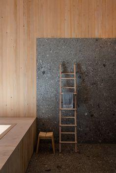 Modern Bathroom Decor, Bathroom Interior Design, Bedford House, Black Window Frames, 1960s House, Light Hardwood Floors, Stone Bathroom, Wood Cladding, Loft
