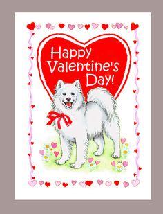 Samoyed Dog Valentine Card by Judzart on Etsy