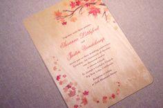 Real Wood Wedding Invitations  Autumn Maple by woodchickstudios, $10.00