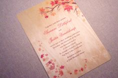 Real Wood Wedding Invitations  Autumn Maple by woodchickstudios, $10.00