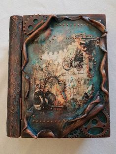 Steampunk diy, mixed media, journal etc. Mixed Media Boxes, Mixed Media Canvas, Mixed Media Art, Mix Media, Handmade Journals, Handmade Books, Journal Covers, Art Journal Pages, Altered Books