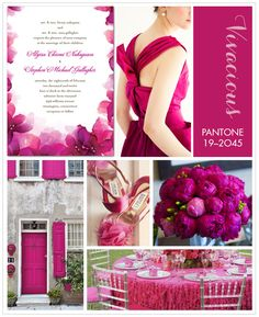 For a statement making wedding hue, we're absolutely in love with Pantone Vivacious; a vibrant, deep fuchsia. Whether you pair it with clean white or bold black, it'll make a stunning impact.