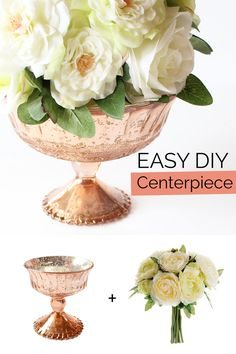 Make this easy DIY centerpiece with a beautiful copper mercury glass vase and ranunculus bouquet from afloral.com. #diywedding