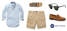 Koszula Gant, szorty J.Crew, pasek Berg&Berg, okulary Ray-Ban, buty Massimo Dutti