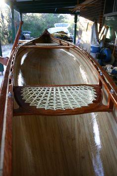 Redbird canoe in process ... seat complete