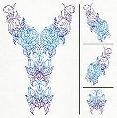 Delicate Bloom Neckline (Split) - Thread List | Urban Threads: Unique and Awesome Embroidery Designs