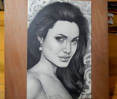 Pencil Drawing - Angelina Jolie by Gabriel Serna