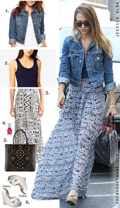 Spice up a denim jacket:Jessica Albas jean jacket, maxi skirt and wedge sandals