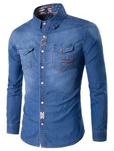 Turndown Collar Suture Pockets Denim Shirt