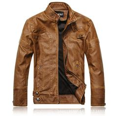 Mens Fashion Stand Collar PU Leather Motorcycle Thick Jacket Casual Atumn Winter Coat - Gchoic.com