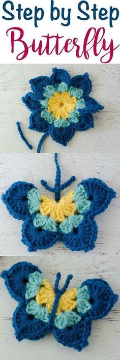 So cute. Crochet butterfly pattern. Use up my yarn stash!