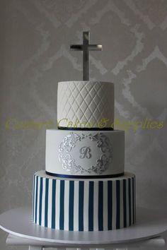 Christening/communion cake for boys Boys First Communion Cakes, Boy Communion Cake, Christening Cake Boy, Christening Cakes, Religious Cakes, Confirmation Cakes, Couture Cakes, Cake Supplies, Cakes For Boys