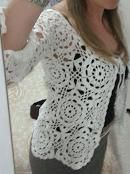 Casaco crochê branco
