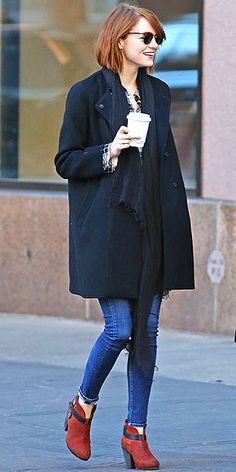 """The phrase """"red booties"""" might induce thoughts of superhero costumes or Santa's elves, but Emma Stone's Rag and Bone &#..."""