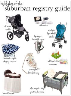 Highlights of the suburban registry guide! Visit TheWiseBaby.com for the full list...