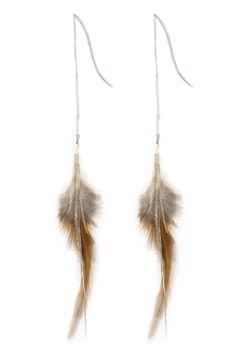 Chan Luu - Brown Feather Dangle Earrings, $110.00 (http://www.chanluu.com/earrings/brown-feather-dangle-earrings/)