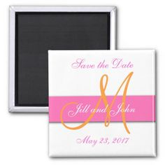 Pink Orange Monogram Save the Date Magnet by Wedding Designer Elke Clarke© for the #monogramgallery store on Zazzle. Purchase at www.zazzle.com/monogramgallery* or pin to your #wedding ideas board
