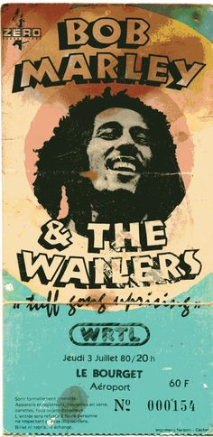 Poster from a Bob Marley and The Wailers concert at Le Bourget, Paris, France, July 3 the UpRising tour. Pop Posters, Band Posters, Music Posters, Event Posters, Retro Posters, Vintage Posters, Blues Rock, Bob Marley Shirts, Carnal