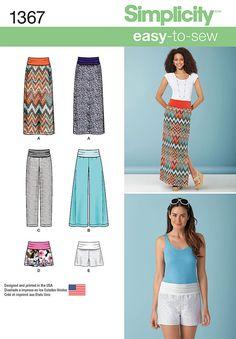 Simplicity Pattern 1367 EASY Maxi Skirt, Wide Leg or Yoga Pants, Shorts, sz 8-24 #Simplicity #SewingPattern