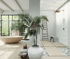 XL bathroom design by COCOON: the natural stone tub is custom made for our Ibiza. Rustic Bathroom Designs, Rustic Bathroom Decor, Bathroom Styling, Bathroom Interior, Modern Bathroom, Bathroom Ideas, Minimalist Bathroom, Master Bathrooms, Bathroom Inspo