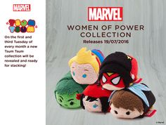 Marvel Heroines: Women of Power Disney Tsum Tsum collection to be released on July 19, 2016. The collection will include Captain Marvel, Spider Woman, She-Hulk, Elektra and Wasp.