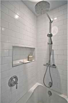Recessed shower shelf Contemporary (Modern, Retro) Bathroom by Victoria Shaw Bathroom Niche, Bathroom Photos, Bathroom Kids, Bathroom Renos, Bathroom Colors, Small Bathroom, Master Bathroom, Loft Bathroom, Family Bathroom