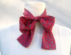 ECHO SILK bow time scarf / red paisley / EXCELLENT on ebay