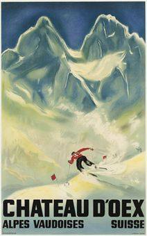 vintage ski poster. DIGGELMANN, ALEX WALTER (1902-1987)   CHATEAU D'OEX   lithograph in colours, 1933