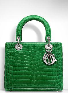 Dior ~ 'LADY DIOR' BAG GLOSSY VERT VIF CROCODILE