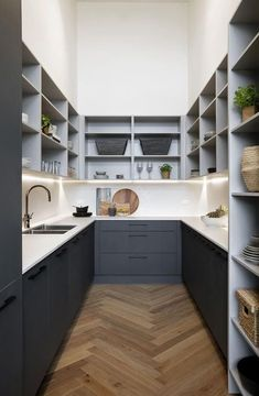 7 new kitchen trends showcased on The Block 2018 Bianca and Carla's butler's pantry on The Block featured a charcoal palette, parquetry flooring and ample storage. - Pantry With One Redo Kitchen Buffet, Kitchen Doors, Kitchen Pantry, Diy Kitchen, Kitchen Cabinets, Kitchen Ideas, Eclectic Kitchen, Pantry Ideas, Awesome Kitchen