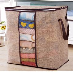 SaicleHome Clothes Quilts Divider Organizer High Capacity Folding Bamboo Bags Bed Under Closet