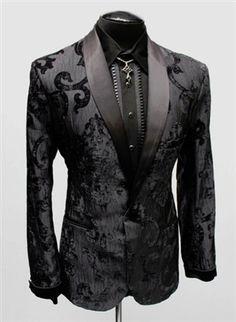 SHRINE - DELUXE SMOKING JACKET - BLACK VELVET BROCADE- #infectiousthreads #goth #gothic #punk #alt #alternative #punkrock #black #fashion #clothes #clothing #darkfashion #streetfashion #smokingjacket