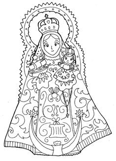 Our Lady of Consolation Coloring Page- The patron saint of Ohio, USA! Catholic Crafts, Catholic Kids, Christmas Colors, Christmas Themes, Colouring Pages, Coloring Books, Coloring Sheets, Images Of Mary, Religion Catolica