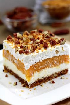 Pumpkin Lush – this fast-made, light, yet delicious creamy dessert, with cheese cream and pumpkin layers, and gingersnap cookie crust, topped with chopped pecans and gingersnap cookie crumbs, will delight all the pumpkin lovers. Thanksgiving Desserts, Holiday Desserts, Just Desserts, Delicious Desserts, Dessert Recipes, Cheesecake Desserts, Thanksgiving Sides, Holiday Recipes, Pumpkin Cake Recipes