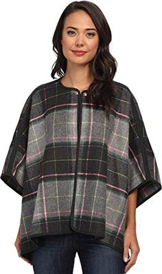 French Connection Women's Fast Felix Check Cape 70CXF Charcoal/Multi Outerwear One Size