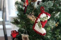 Granny Square Stocking Ornament | AllFreeCrochet.com