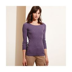 Ralph Lauren Lauren Ribbed Stretch Cotton Sweater ($50) ❤ liked on Polyvore featuring tops, sweaters, purple top, ralph lauren sweater, long sleeve scoop neck top, scoopneck top and ralph lauren tops