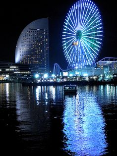 Yokohama's dazzling ferris wheel lights at night