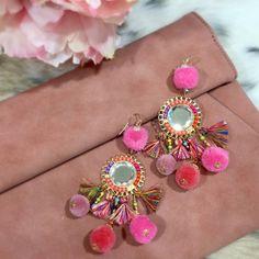 Pom Pom Tassel Beaded Earrings, Pink and Multi, $14.99