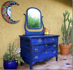 blue dresser - cobalt milk paint