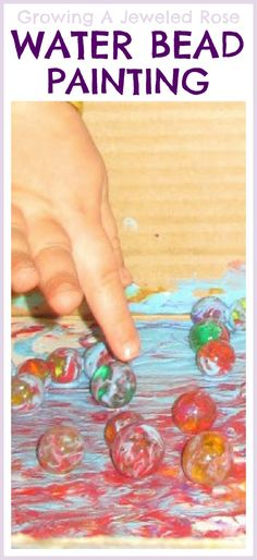Can do with marbles too but this is Painting with water beads - FUN!