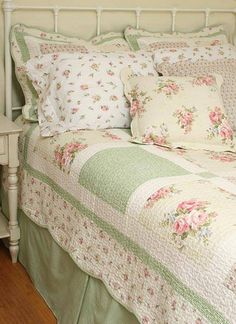 7pc SPRING PINK ROSES CHIC SHABBY TWIN QUILT SHAM BEDSKIRT SHEETS PILLOW SET