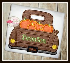 Retro Truck Hauling Fall Pumpkins - Appliqued Embroidered Custom Shirt or Bodysuit on Etsy, $25.00